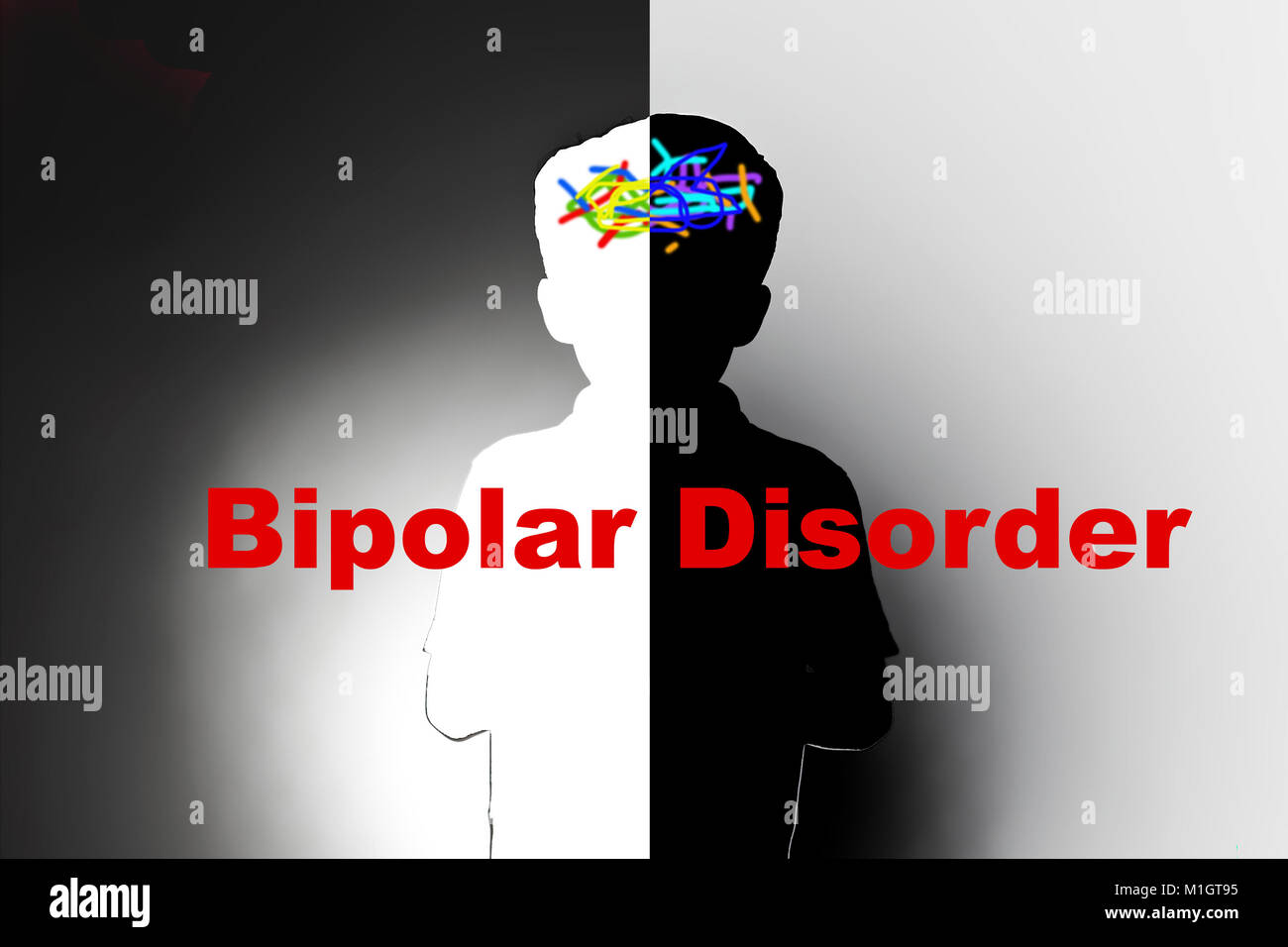 childhood bipolar disorder, safeguarding children and social care, mental illness - Stock Image