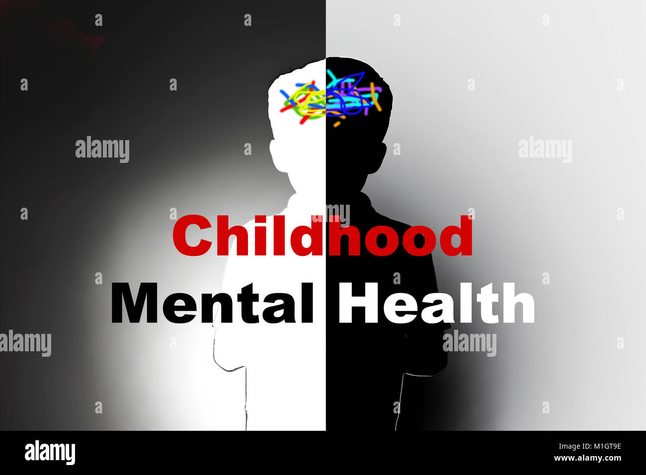 childhood mental health, safeguarding children and social care, mental illness - Stock Image
