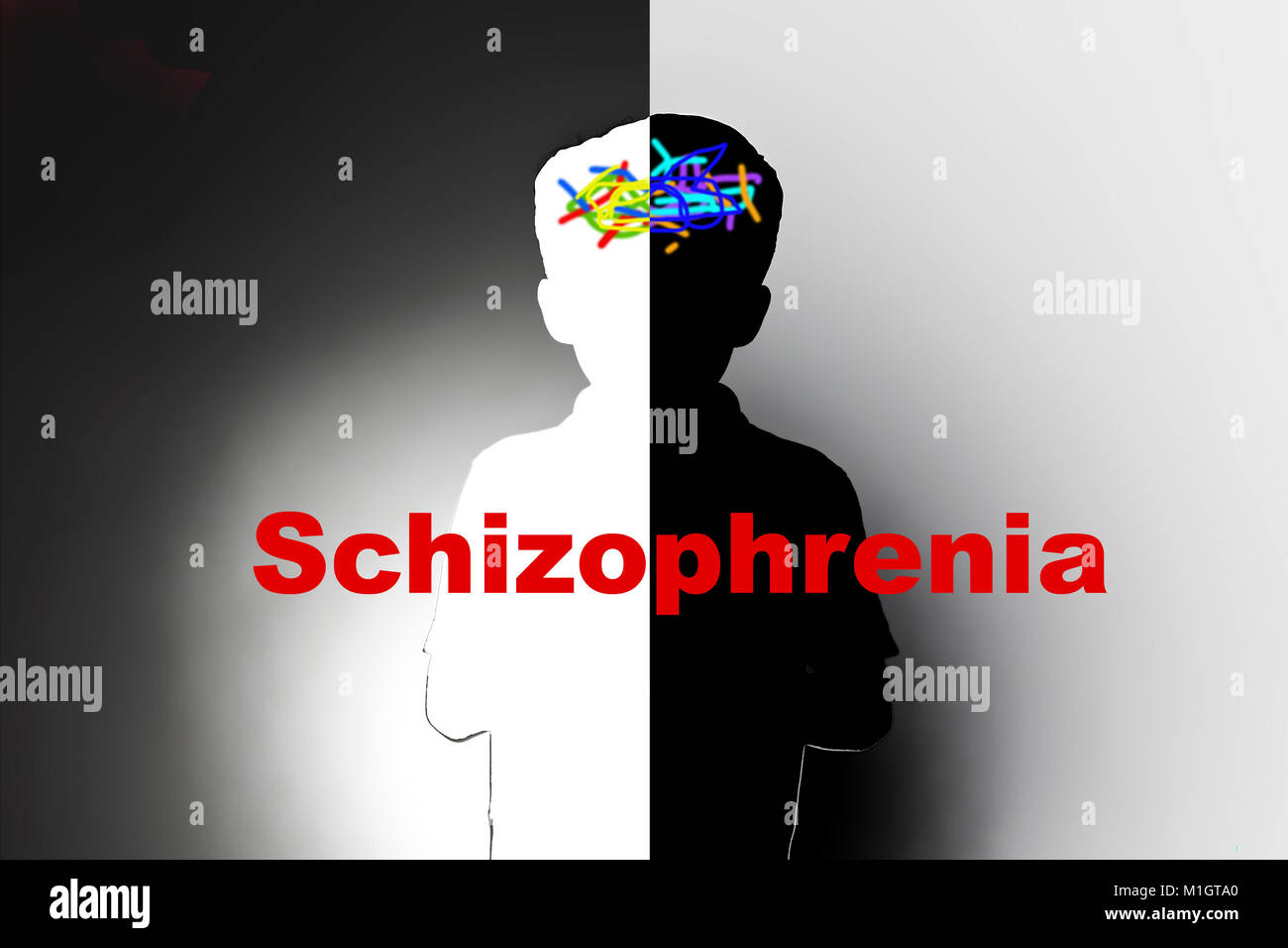 childhood schizophrenia, safeguarding children and social care, mental illness - Stock Image