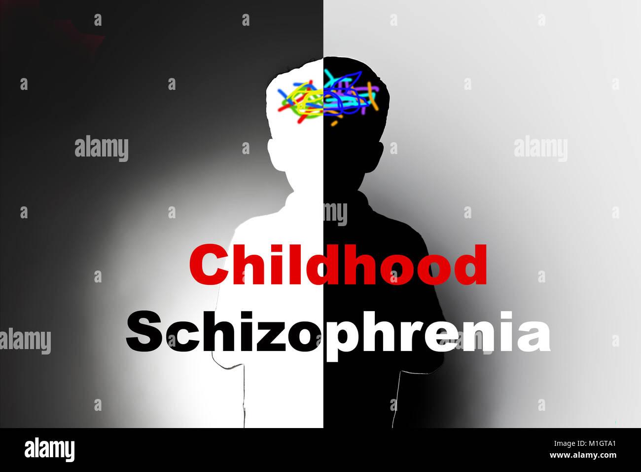 childhood schizophrenia, safeguarding children and social care, mental illness - Stock Image