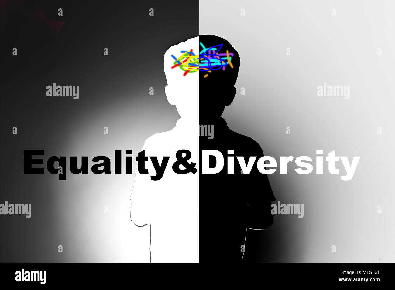 equality and diversity in children, education and racial discrimination - Stock Image