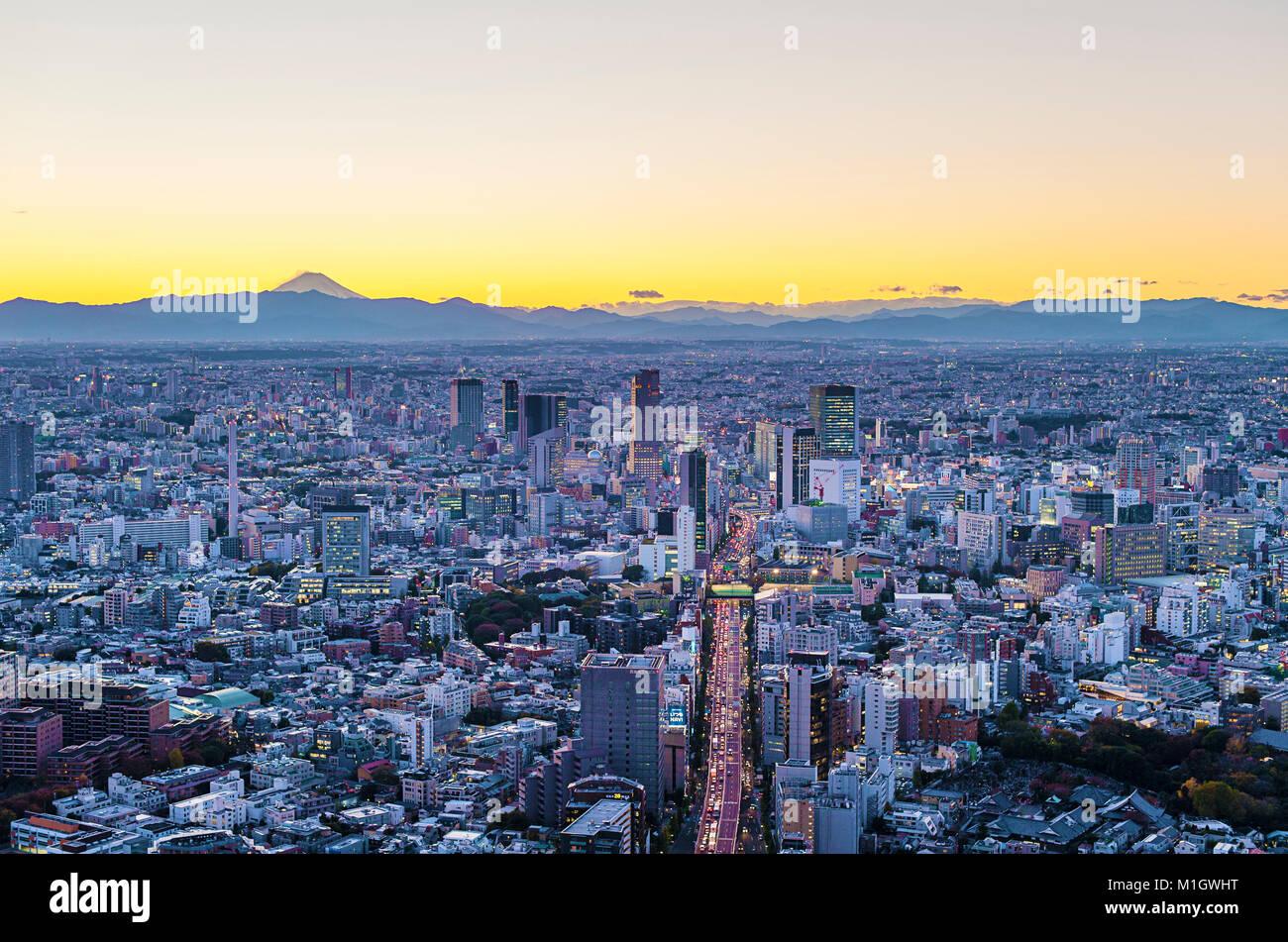 Aerial View Tokyo Japan Mt. Fuji - Stock Image
