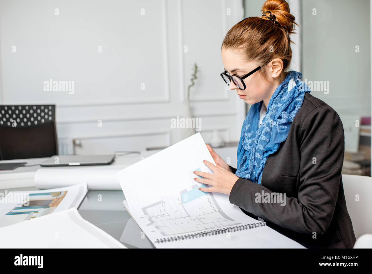 Architect working in the office - Stock Image