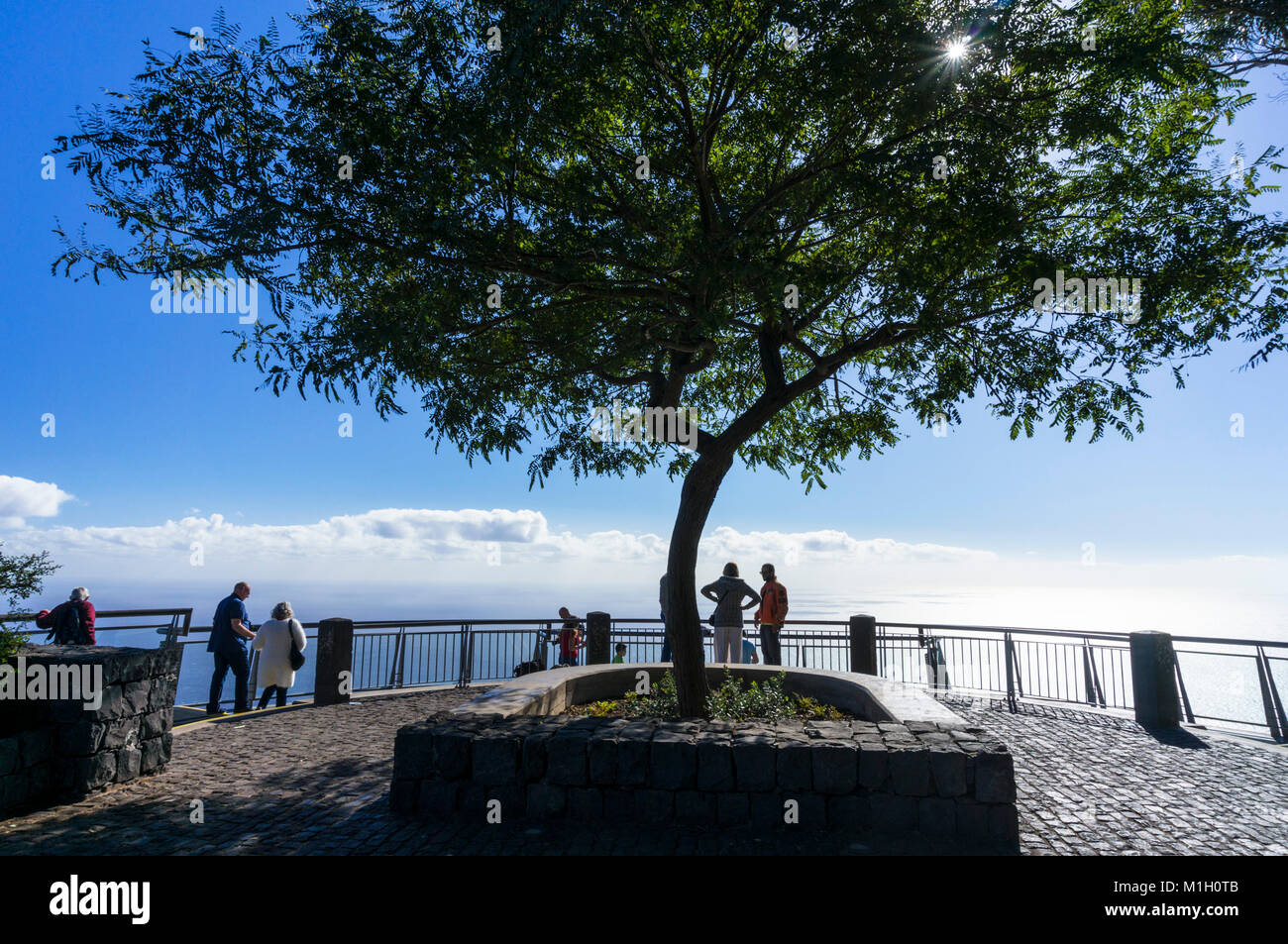 Cabo girao madeira portugal madeira Tourists on glass viewing platform at Cabo Girao a high sea cliff south coast - Stock Image
