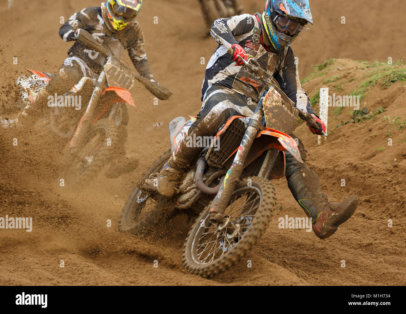 Jake Nicholls on the Tru-7.com KTM 450 at the NGR & ACU Eastern EVO Solo Motocross Championships, Cadders Hill, - Stock Image
