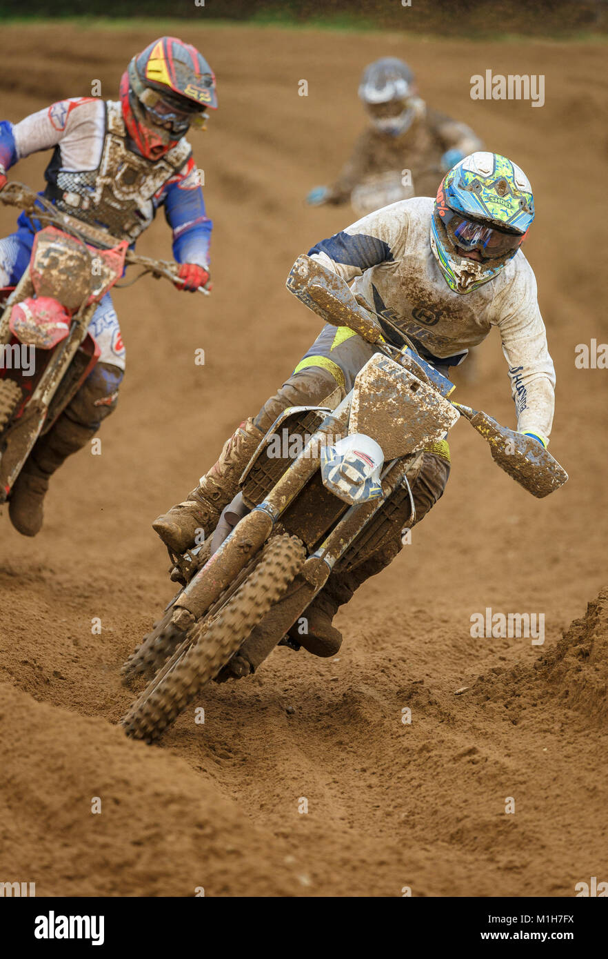 Benjamin Alexander on the Lings Husqvarna 350 at the NGR & ACU Eastern EVO Motocross Championships, Cadders Hill, Stock Photo