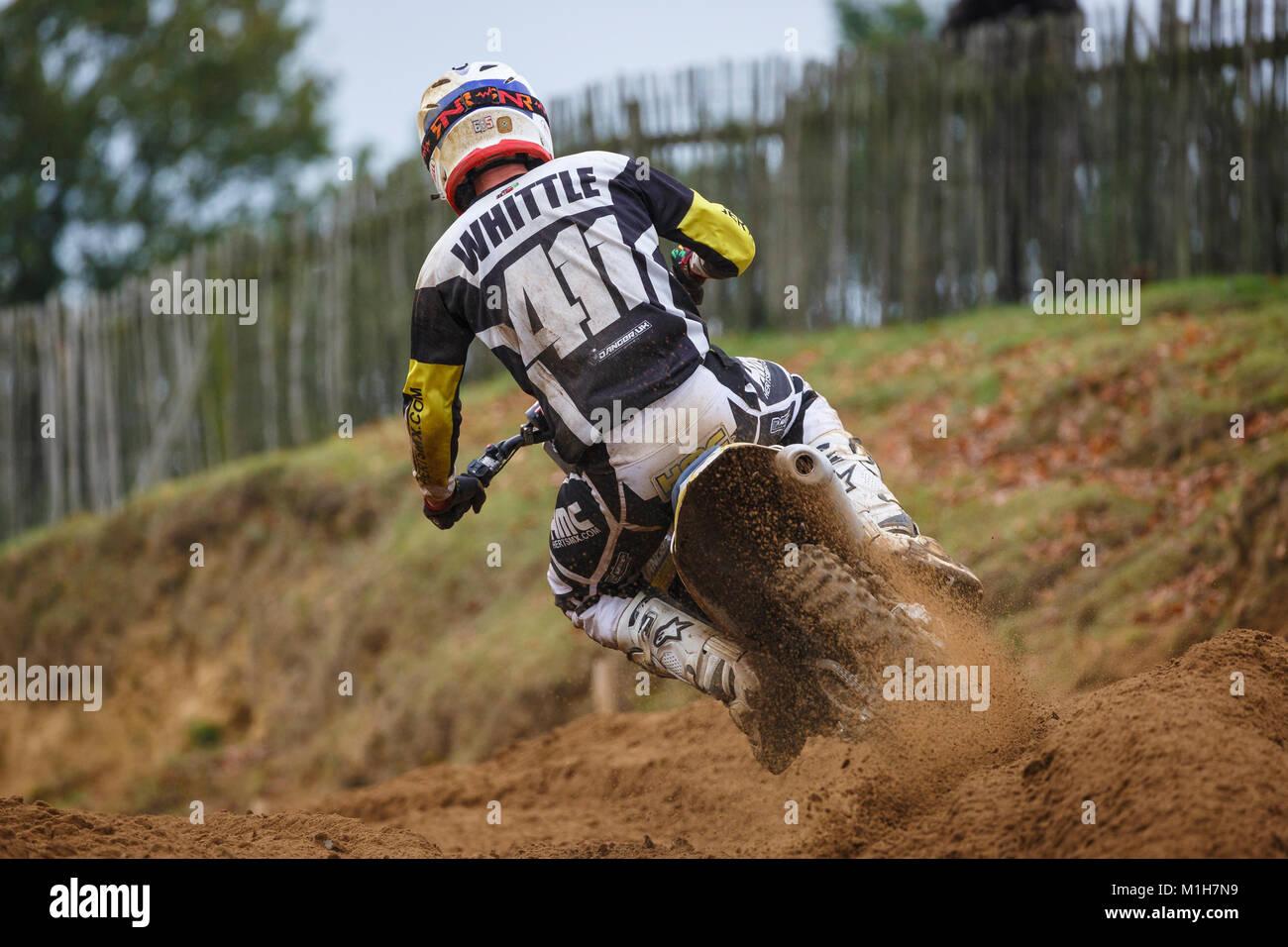 Declan Whittle on the Herts MX / Danger UK Husqvarna 450 at the NGR & ACU Eastern EVO Motocross Championships, - Stock Image