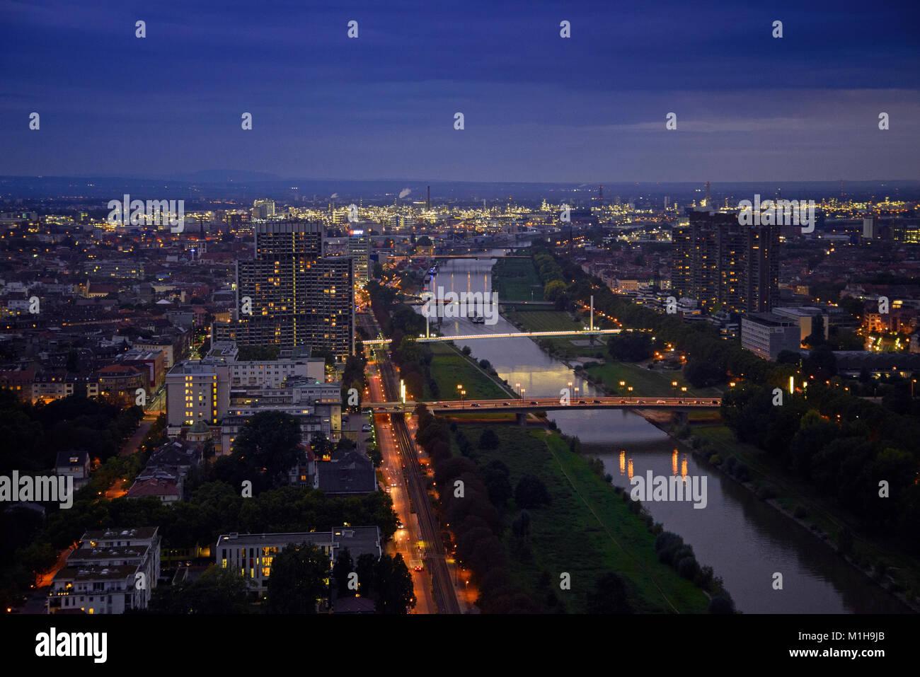 Mannheim, Blick vom Fernmeldeturm - Stock Image