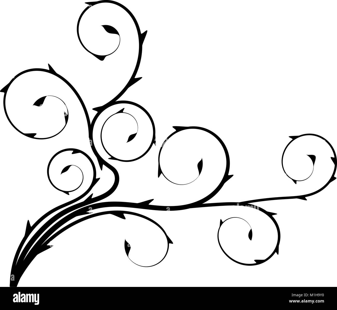 Floral pattern black white - Stock Image
