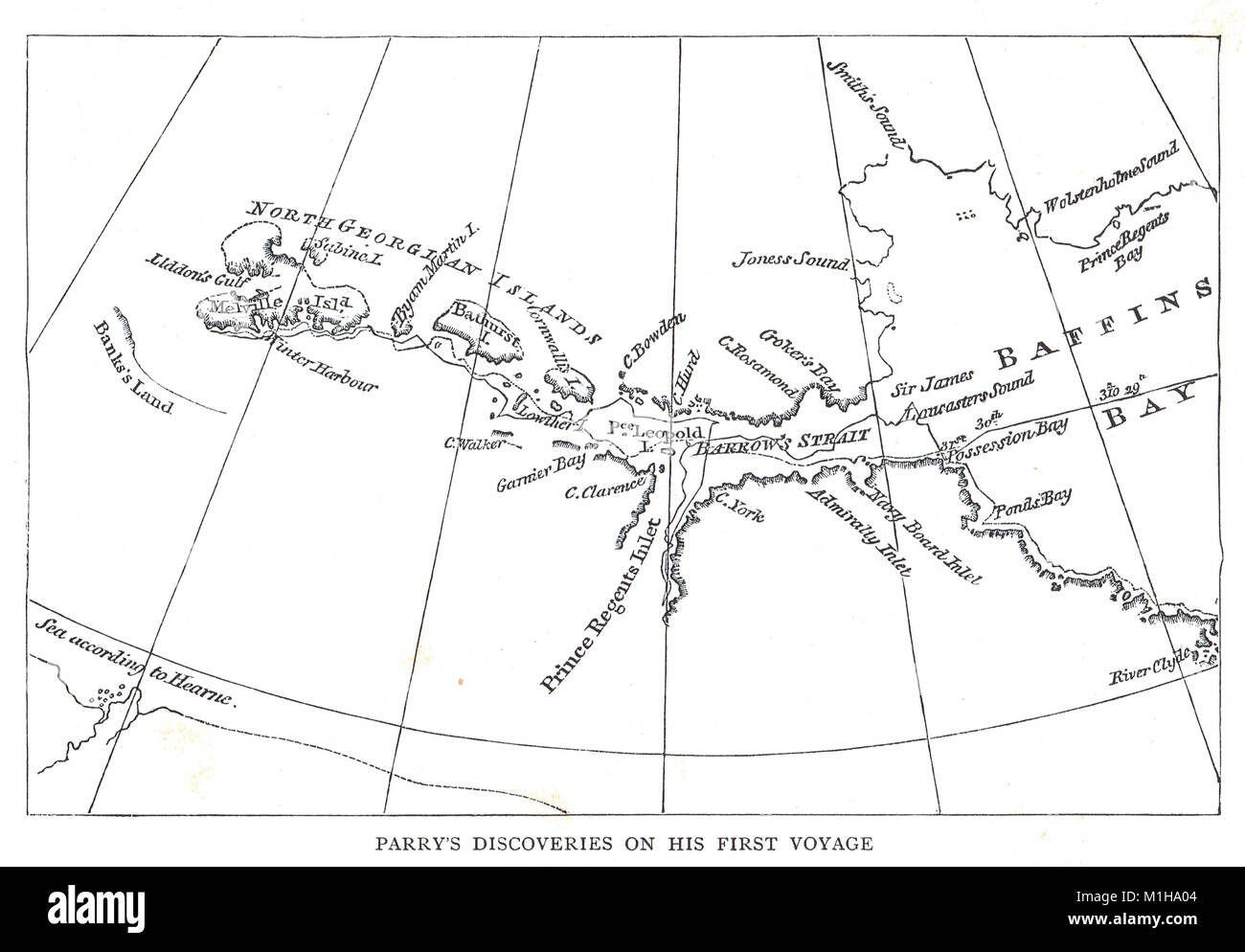 Map of Parry's discoveries on his first Arctic voyage 1819 - Stock Image