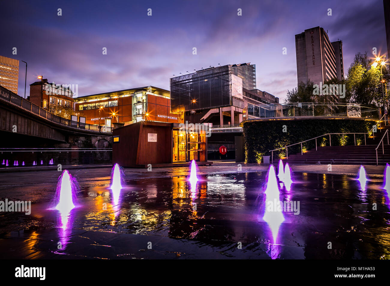 12th November 2017, nightfall across Manchester Skyline UK, including Harvey Nichols, Grindsmith Coffee and the - Stock Image
