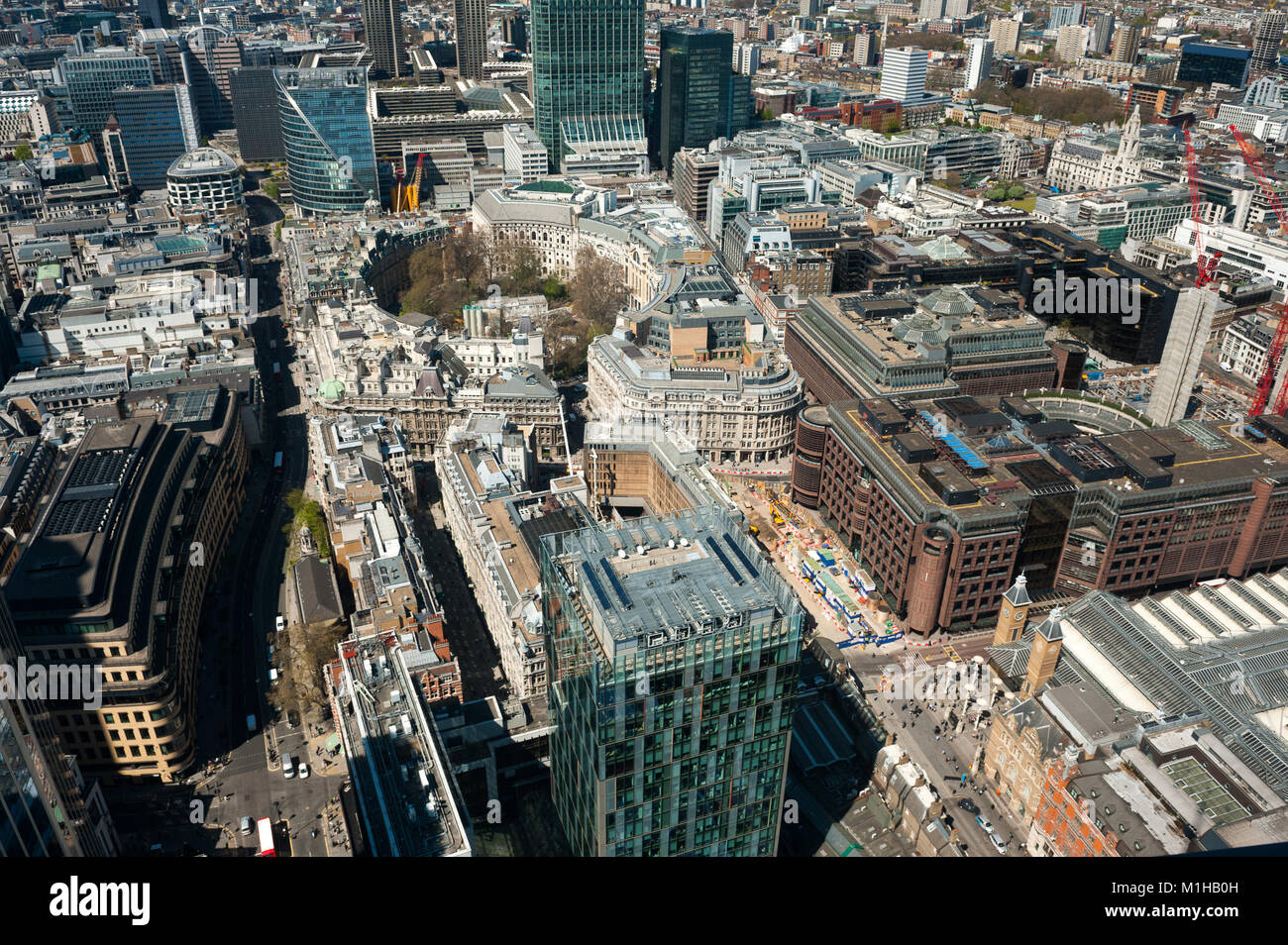 Bird view over the City district  in London, UK - Stock Image