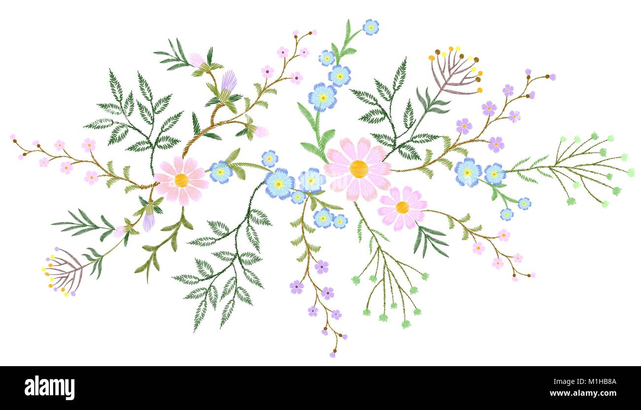 Embroidery white lace floral pattern small branches wild herb with little blue violet field flower. Ornate traditional - Stock Vector