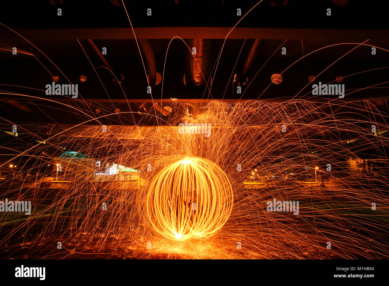 The picture of the fire circle made by burning steel wool. Looking quite impressive, because the picture is taken Stock Photo