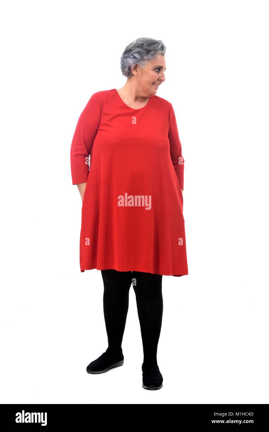 full portrait of a senior woman on white - Stock Image