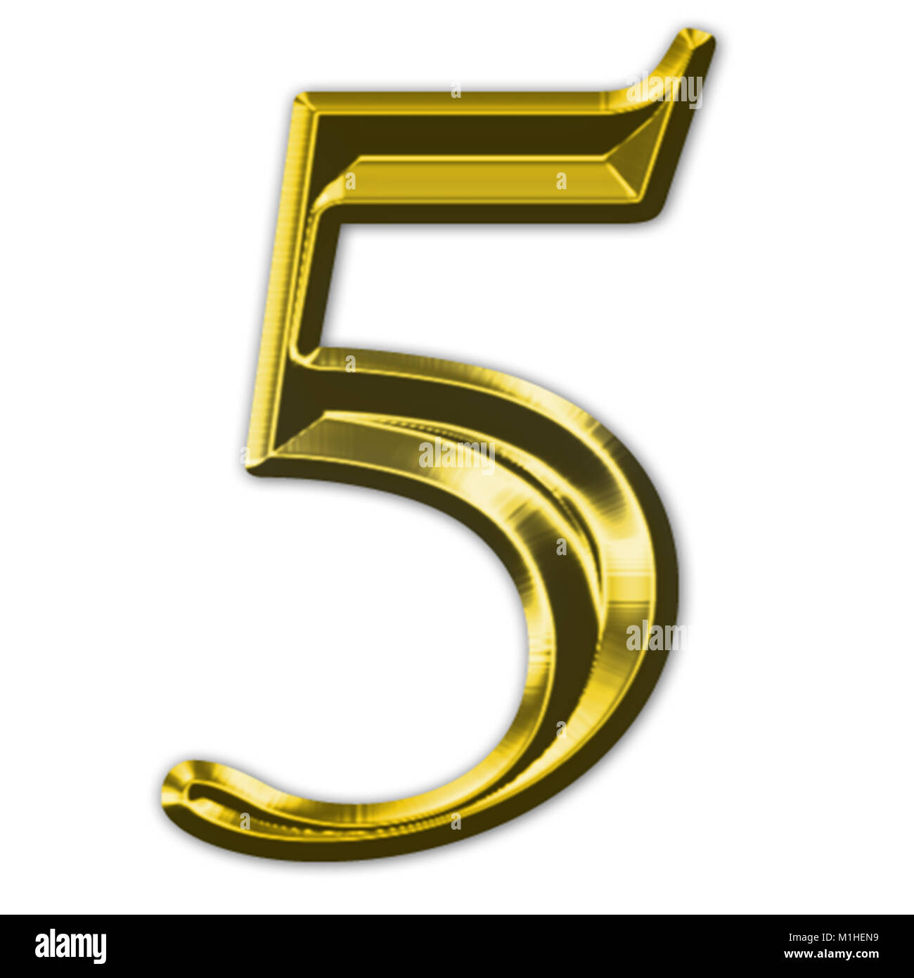 Rendering of a gold beveled numeral - Stock Image