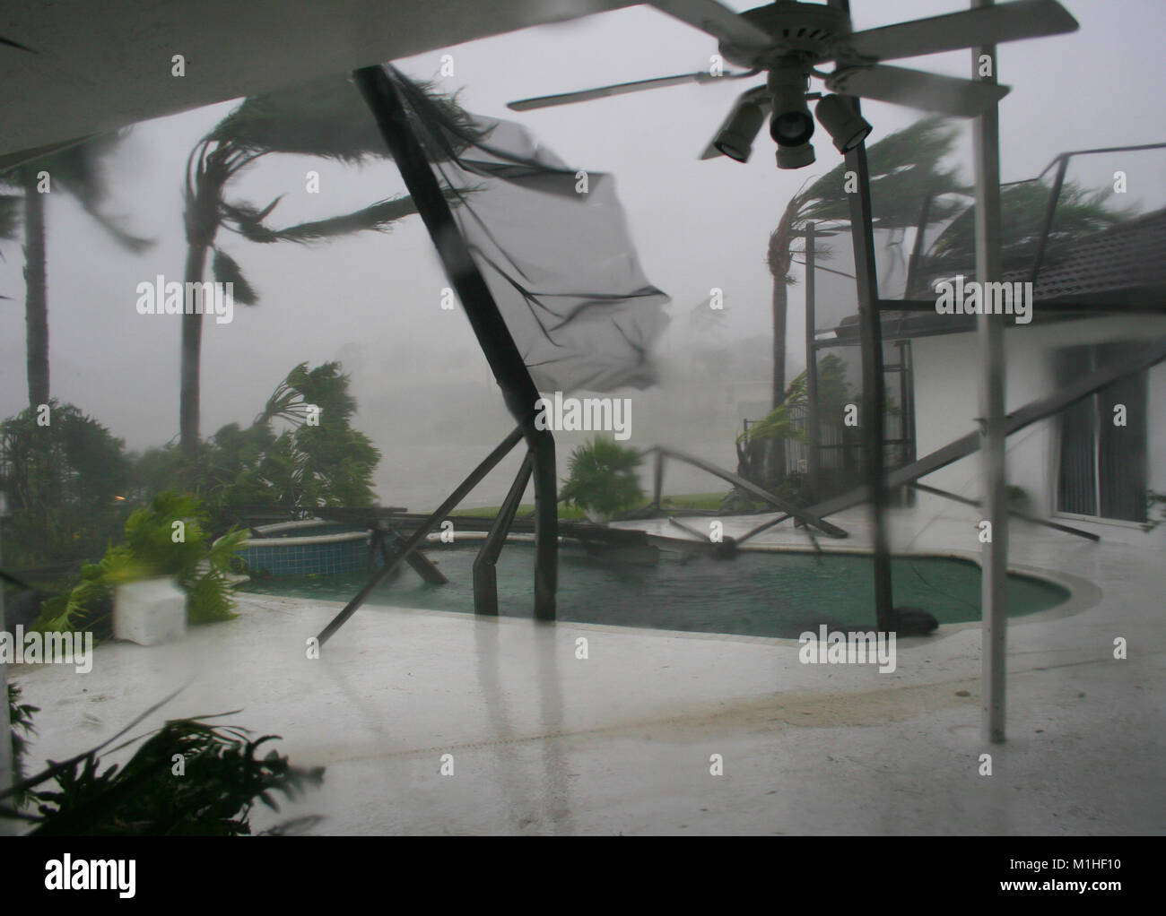 Extreme storm damage resulting from a natural weather disaster, Hurricane Wilma in South Florida. - Stock Image