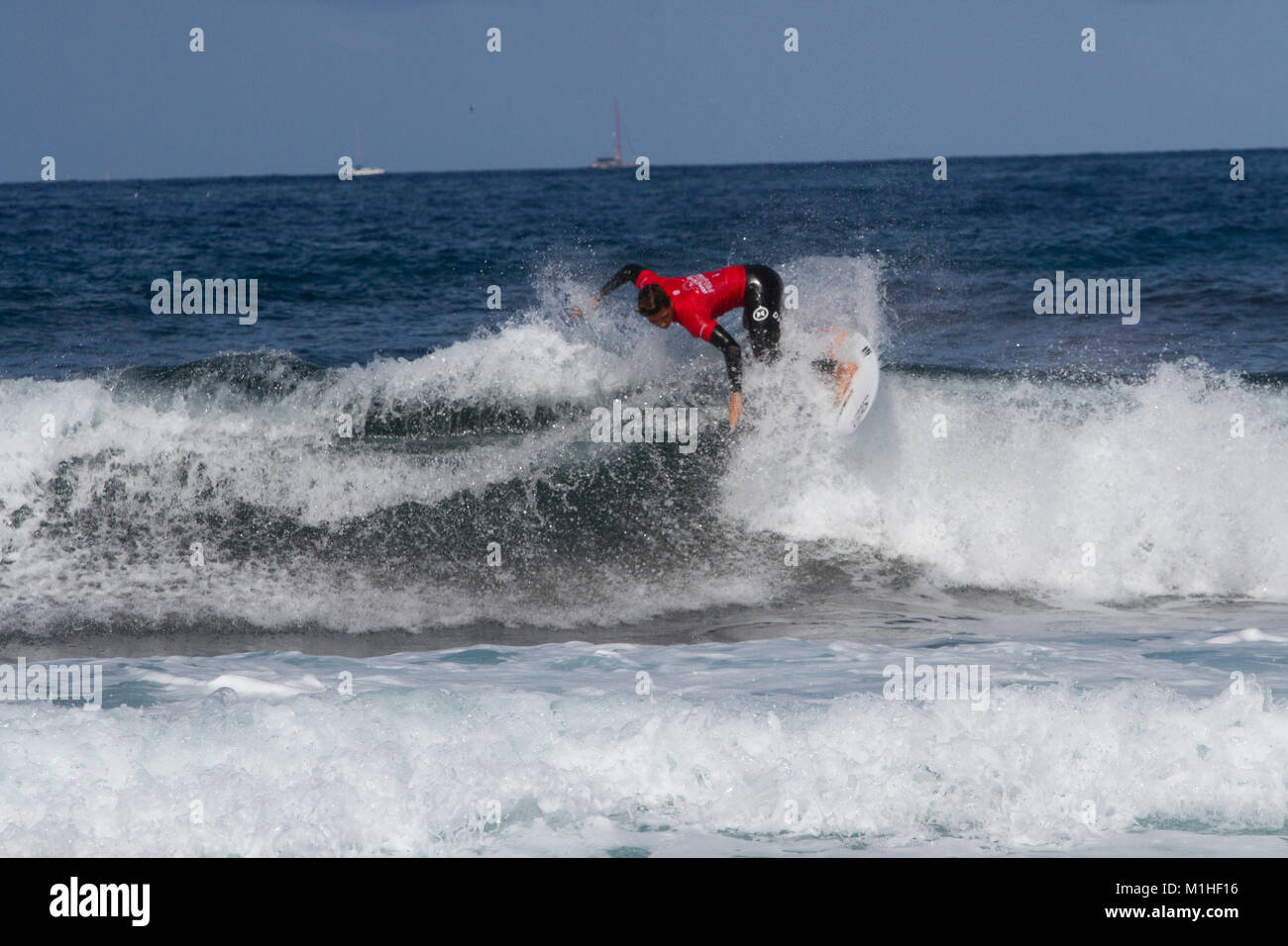 Arona, Spain. 30th Jan, 2018. First day off the Las Americas Pro surfing for the World ChampionsLeague with participants - Stock Image