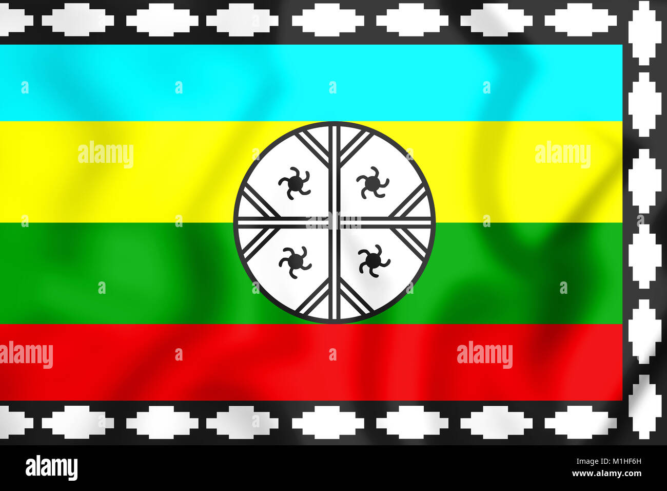 Mapuche Flag of Nagche Territory. 3D Illustration. Stock Photo