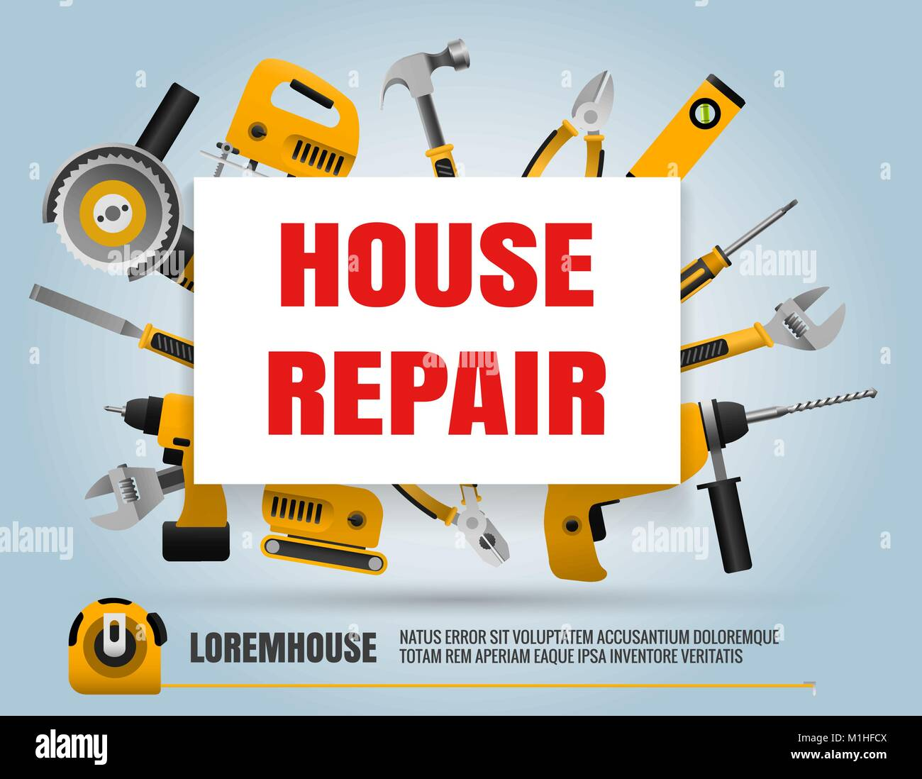 House Repair Poster Home Repair Service Label With Construction Hand Stock Vector Image Art Alamy
