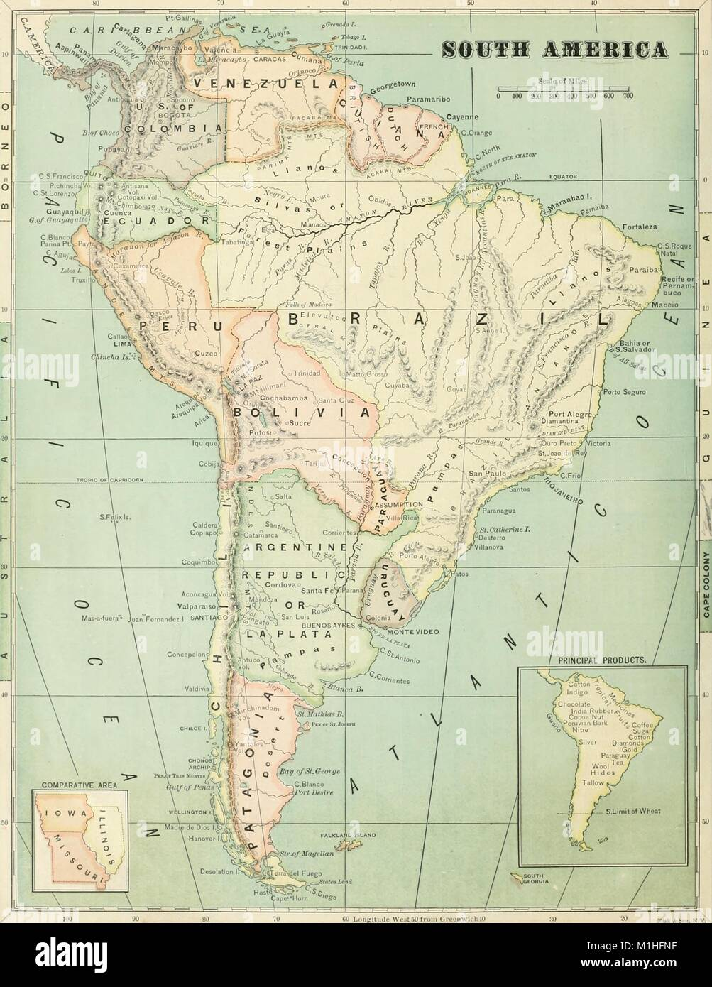 Color map of South America, with a scale, color-coded regions, and ...