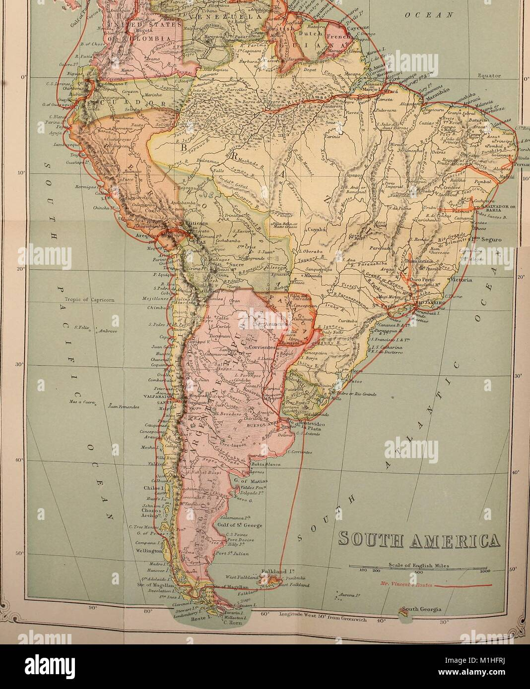 Physical And Political Map Of South America With A Scale Lines Of