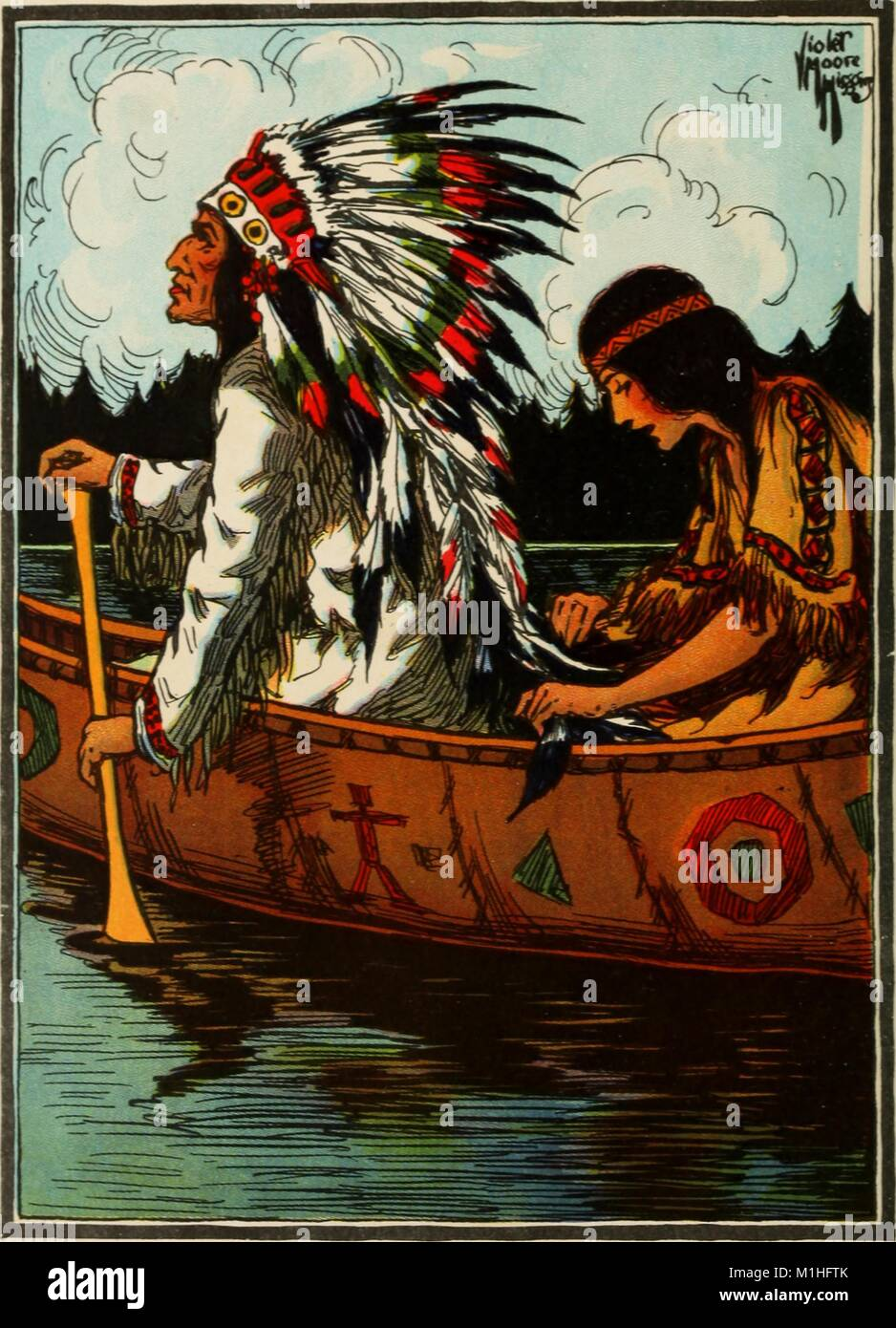 Illustrated color frontispiece, depicting a girl in a canoe sewing the feathers of a man wearing a feathered headdress, - Stock Image