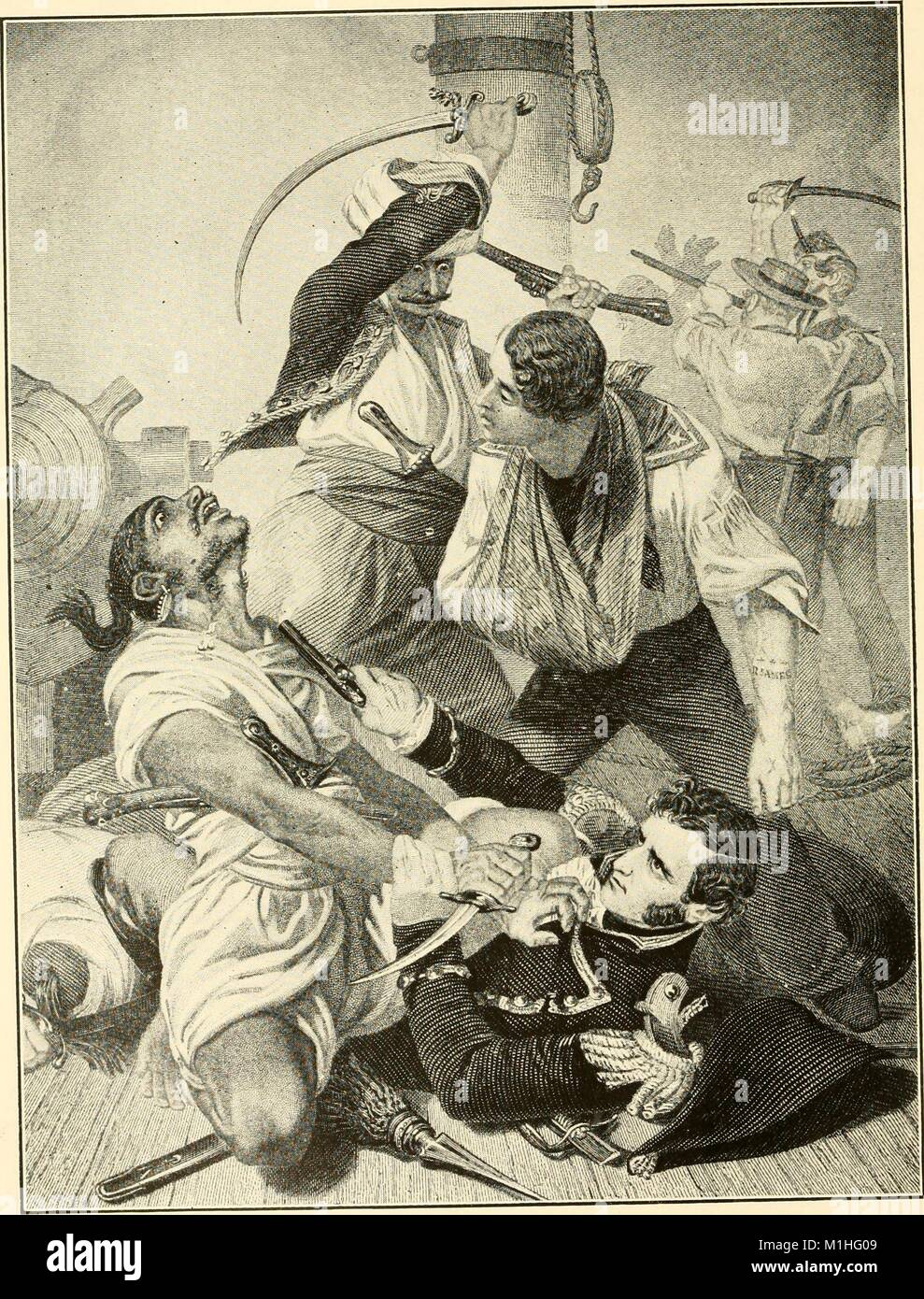 Black and white illustration, captioned 'Decatur's Conflict with the Algernine at Tripoli, ' depicting - Stock Image