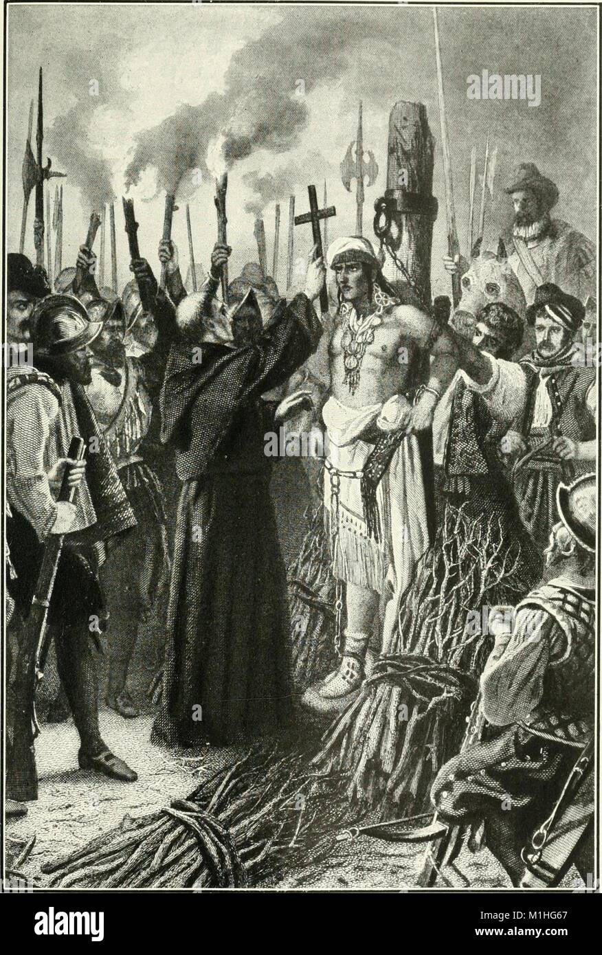 Black and white illustration, by artist Alonzo Chappell, depicting the Spanish soldier Pizarro about to burn the - Stock Image