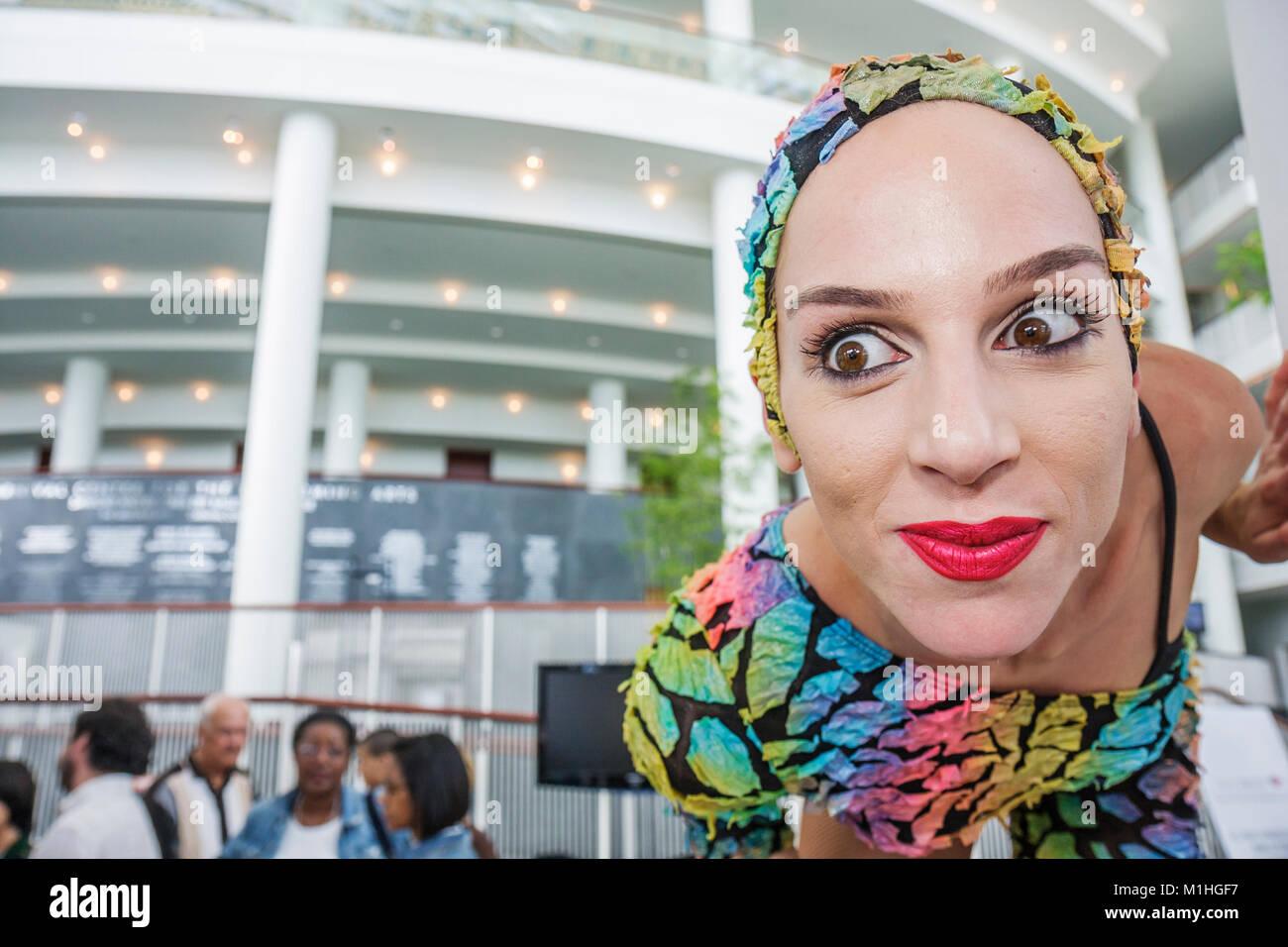 Ziff Opera House female performer stilts make up face eyes eyeballs - Stock Image