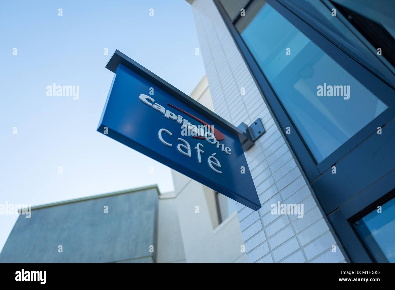 Sign with logo on facade of the Capital One Cafe, a combined banking center and cafe in downtown Walnut Creek, California, - Stock Image