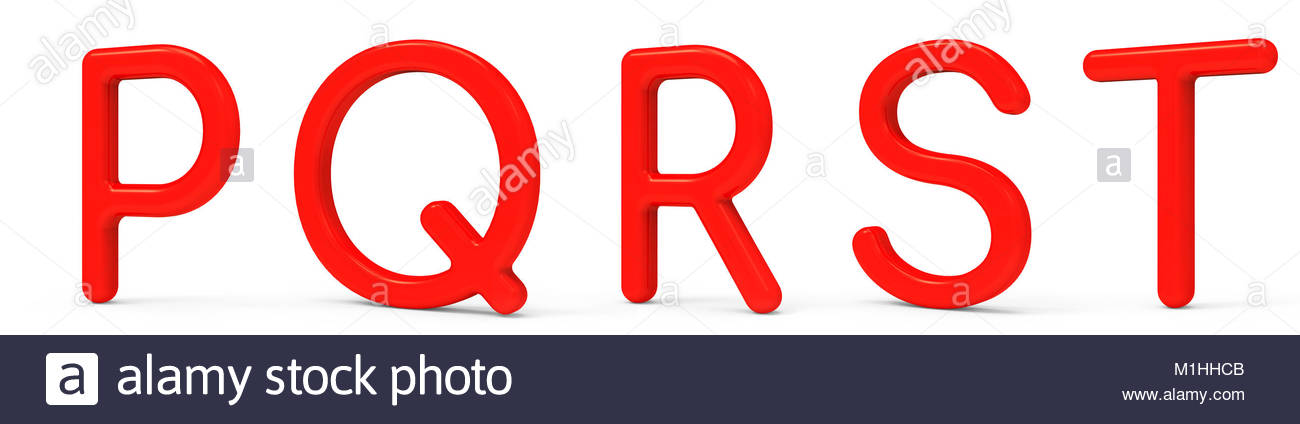 Red Plastic Font Set Letter P Q R S T Isolated