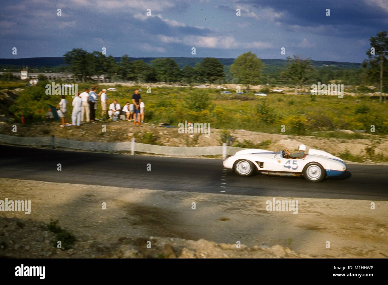 Action view at speed of Gilbert Geitner driving a Ferrari 500 TR No. 45 at the SCCA National Races in Montgomery, - Stock Image