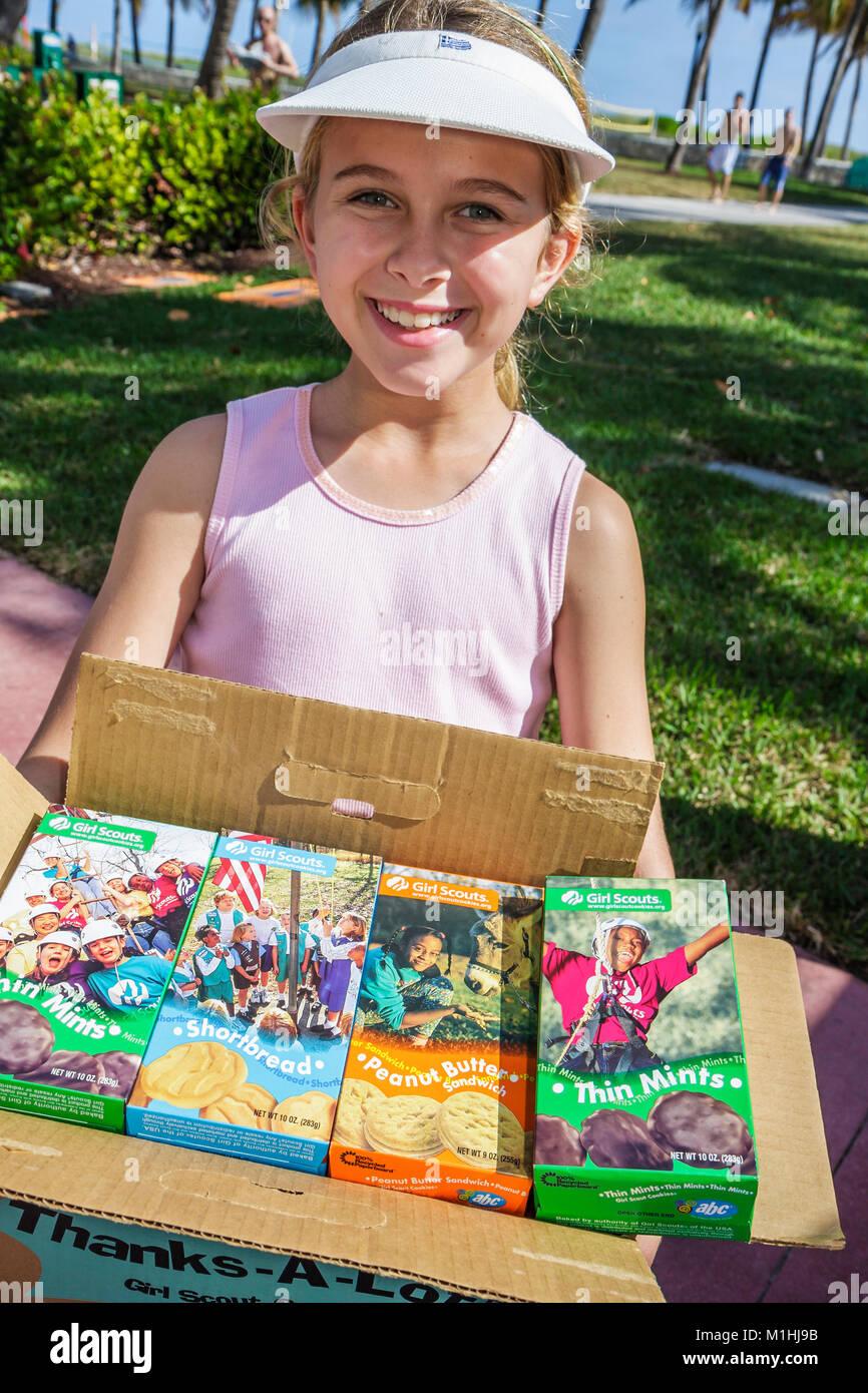 Miami Beach Florida Ocean Drive girl scout cookies - Stock Image
