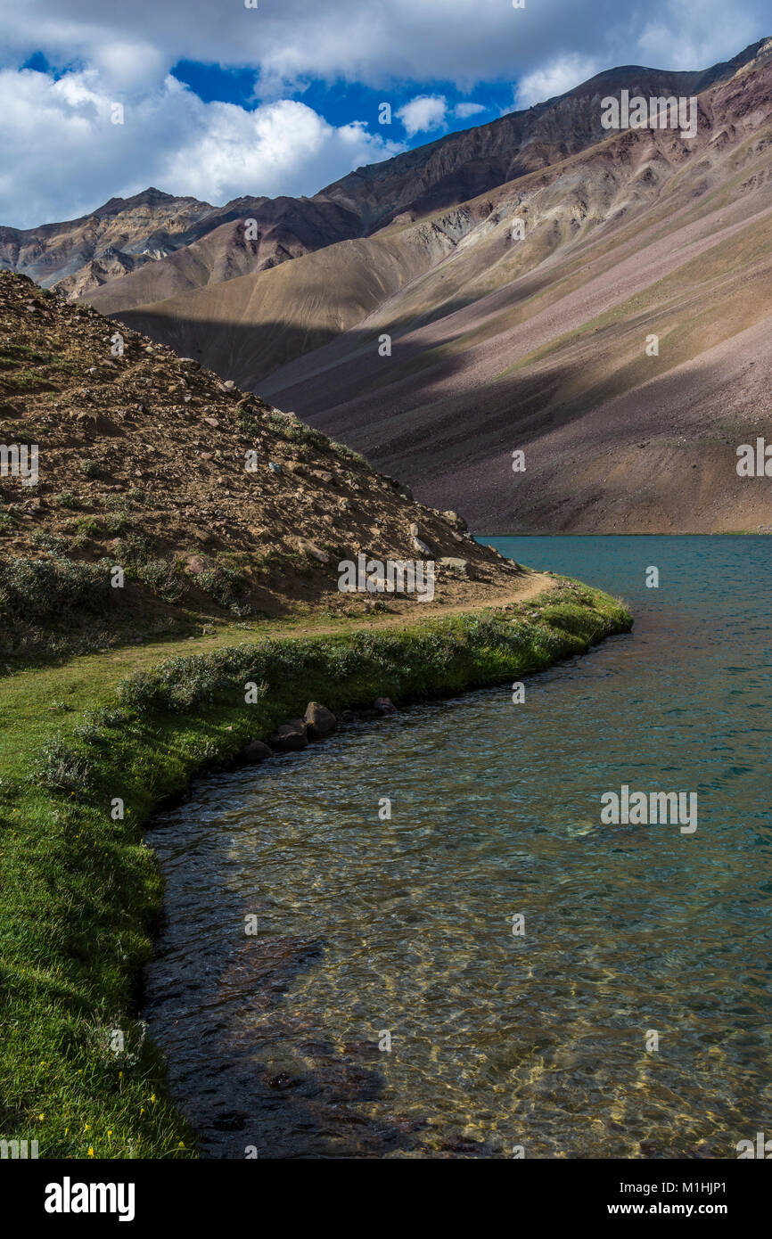 Crystal Clear Water of chandra Taal - Stock Image