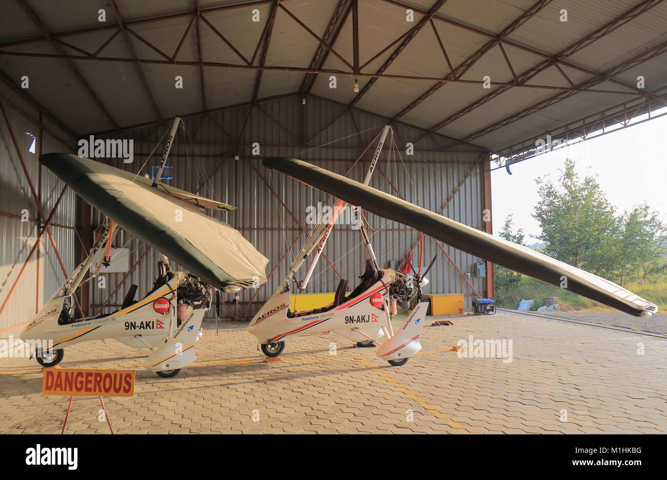 Scenic flight airplanes parked at Pokhara airport in Pokhara Nepal. - Stock Image