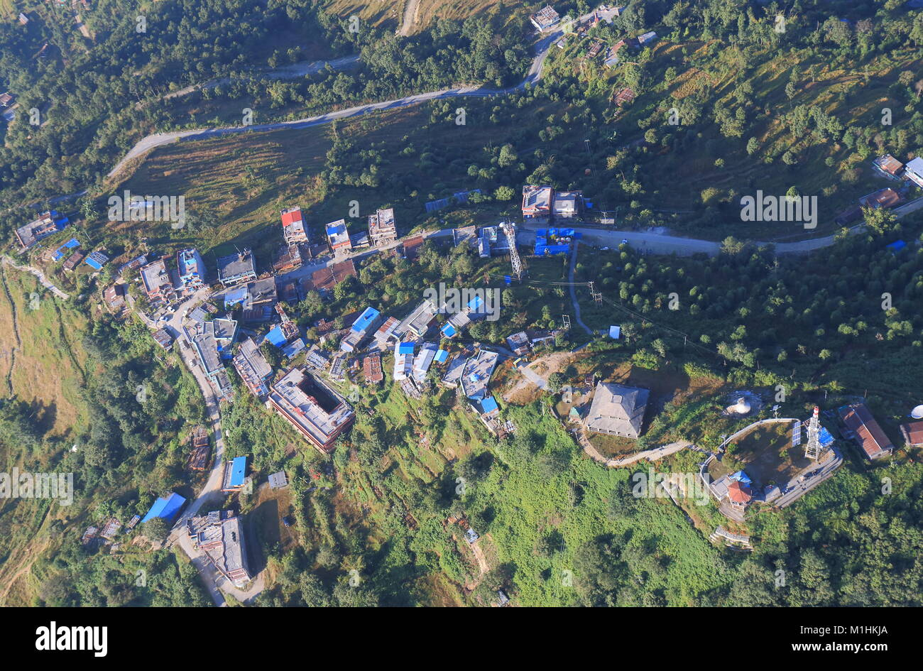 Sarangkot Pokhara town arial cityscape Nepal - Stock Image