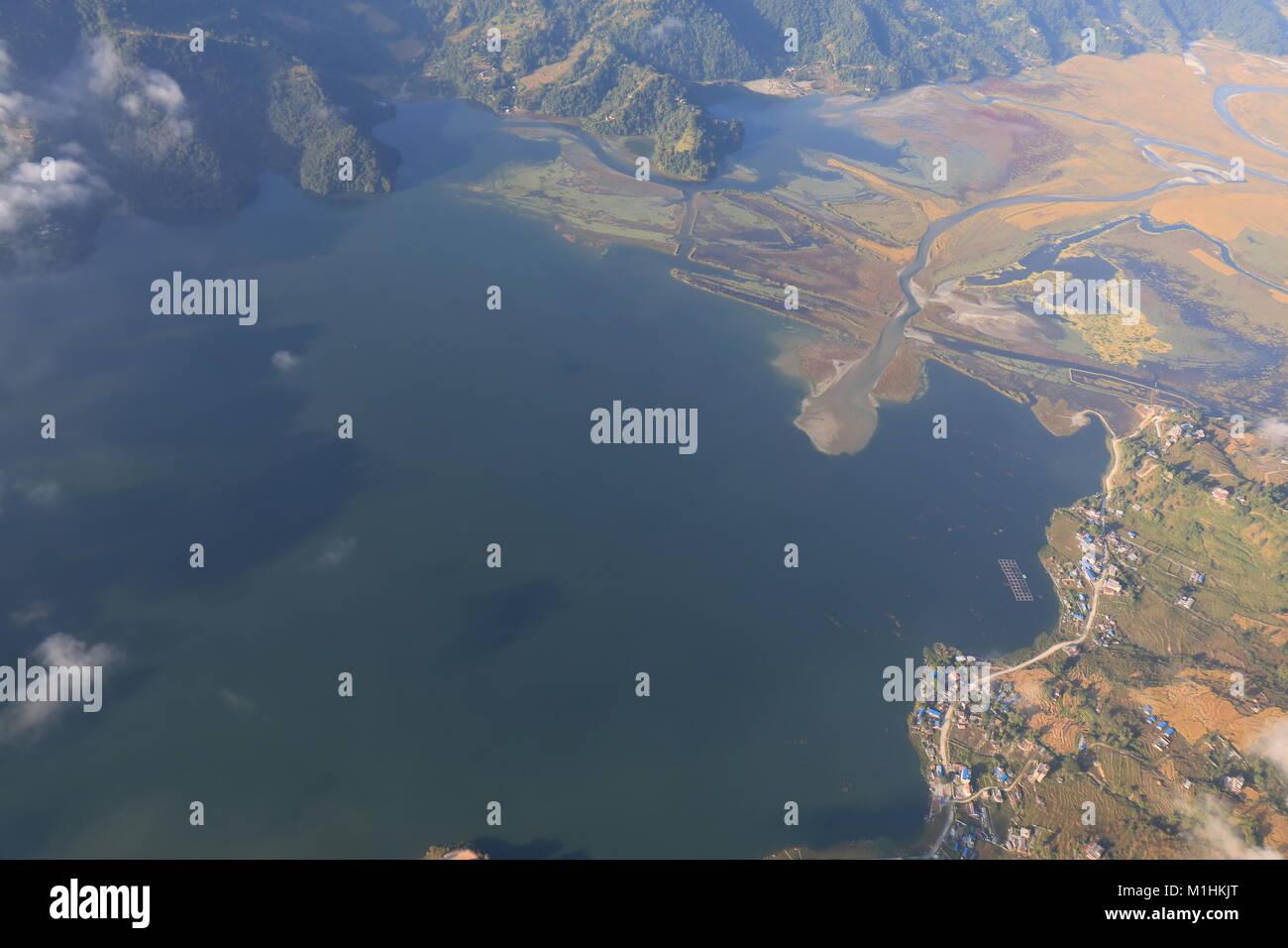 Phewa lake Pokhara town arial cityscape Nepal - Stock Image