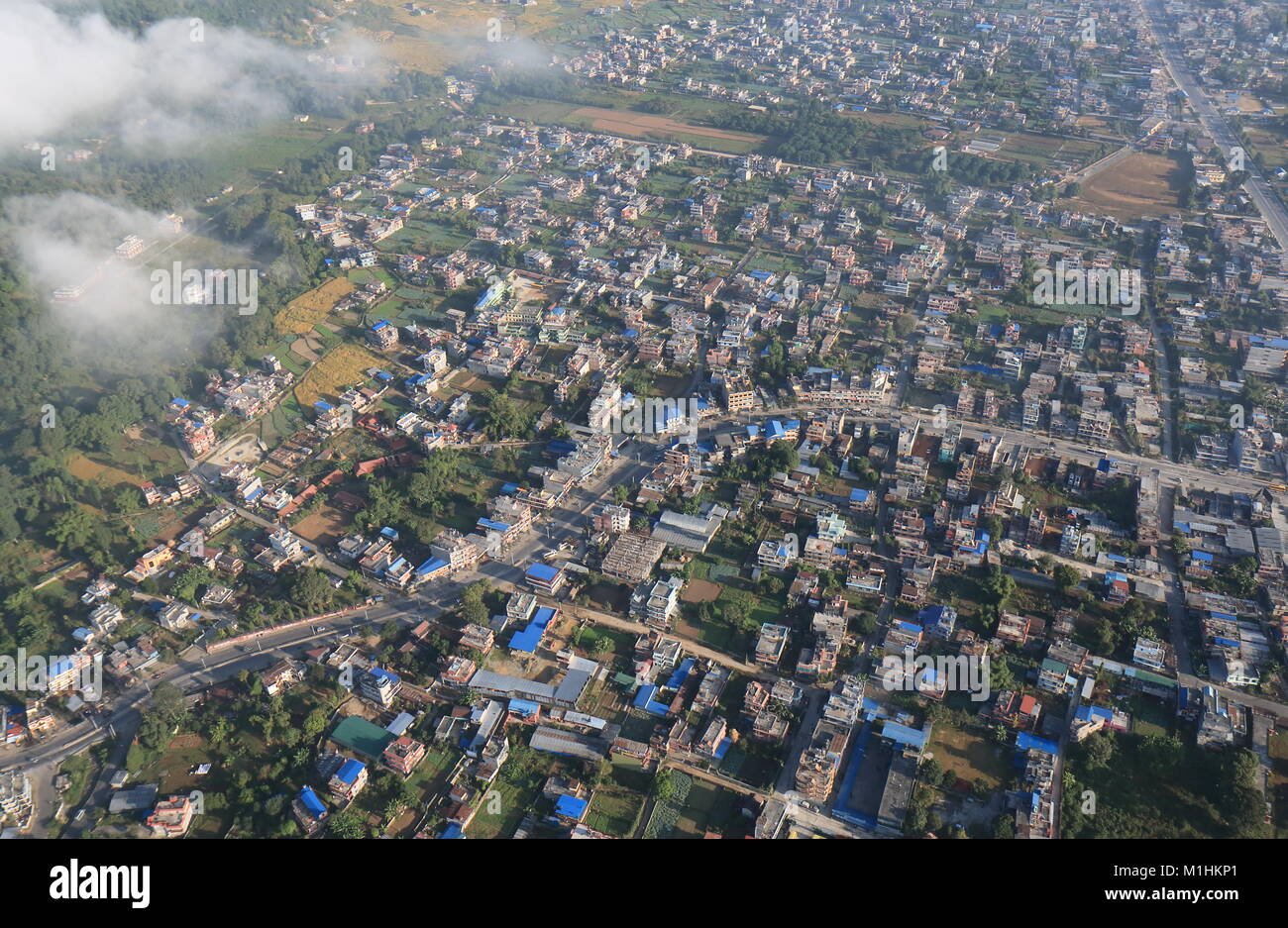 Pokhara town arial cityscape Nepal - Stock Image