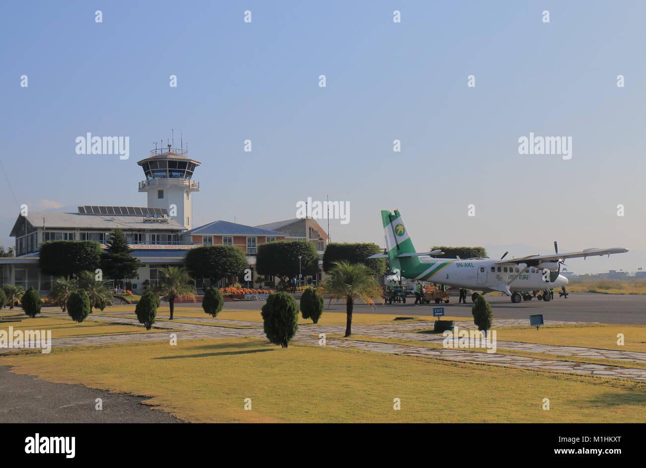 People take flight at Pokhara airport in Pokhara Nepal. - Stock Image