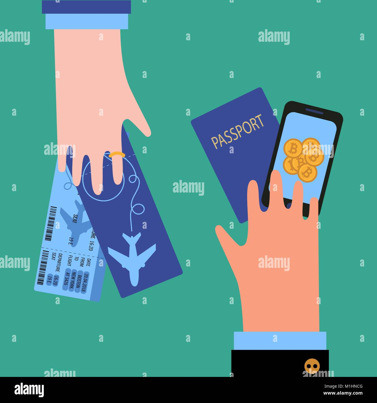 Man hand with passport and bitcoin cryptocurrency and woman with tickets. Bussiness Guy is making payment and buying - Stock Vector