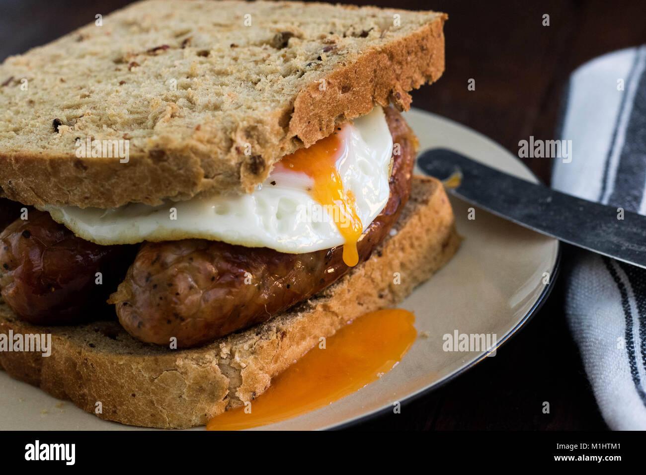 Sausage & Egg Sandwich - Stock Image