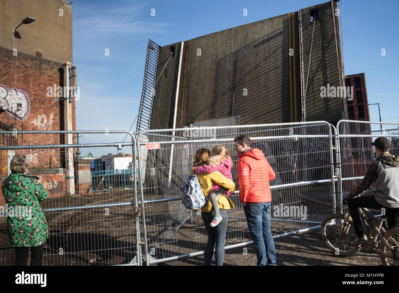 People coming to look at the Banksy art work in Hull - Stock Image