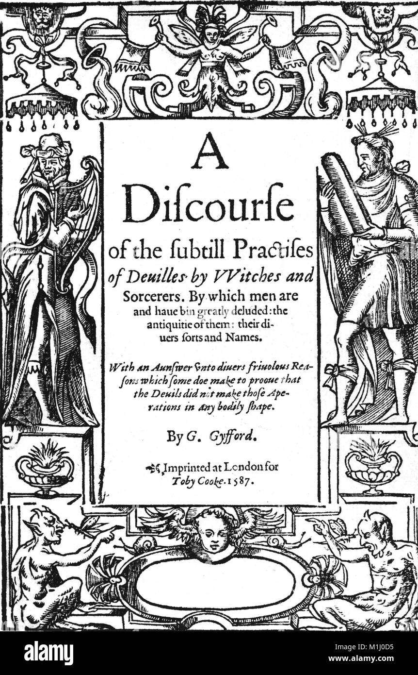 GEORGE GIFFORD (c 1548-1620.  Puritan preacher. Title page of his 1587 Discourse on devils and witchcraft - Stock Image