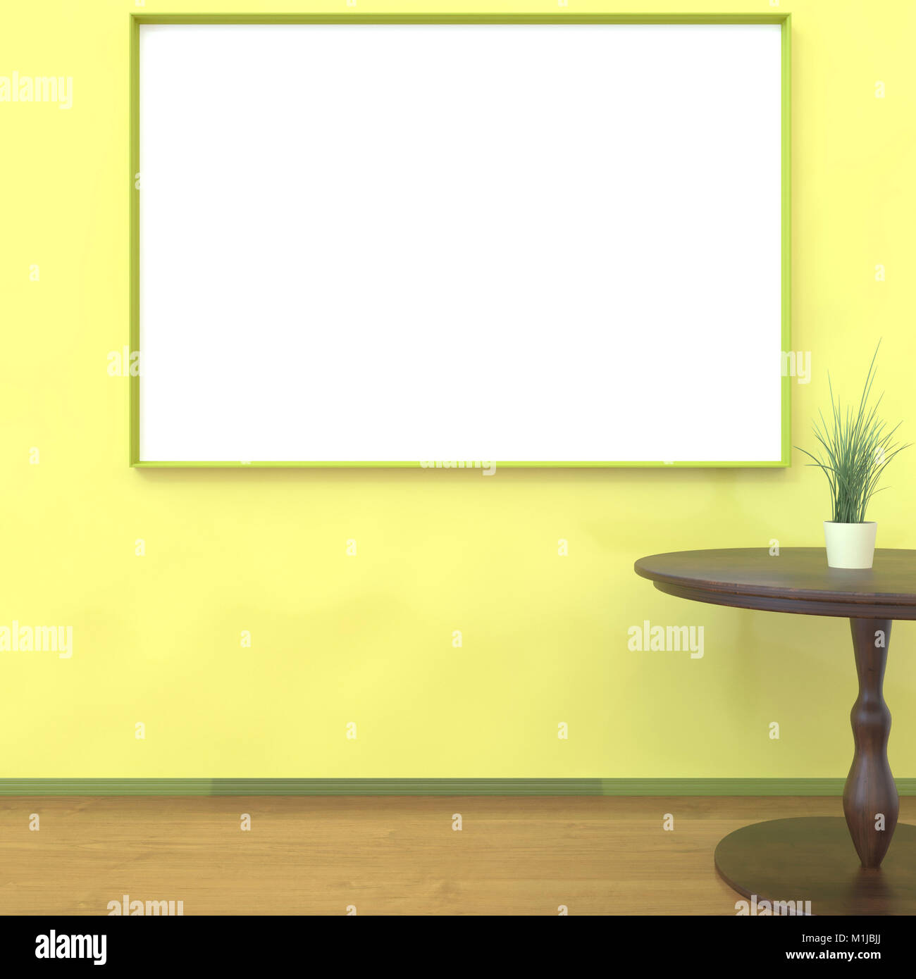 Mock up room, white poster on yellow wall 3D rendering - Stock Image