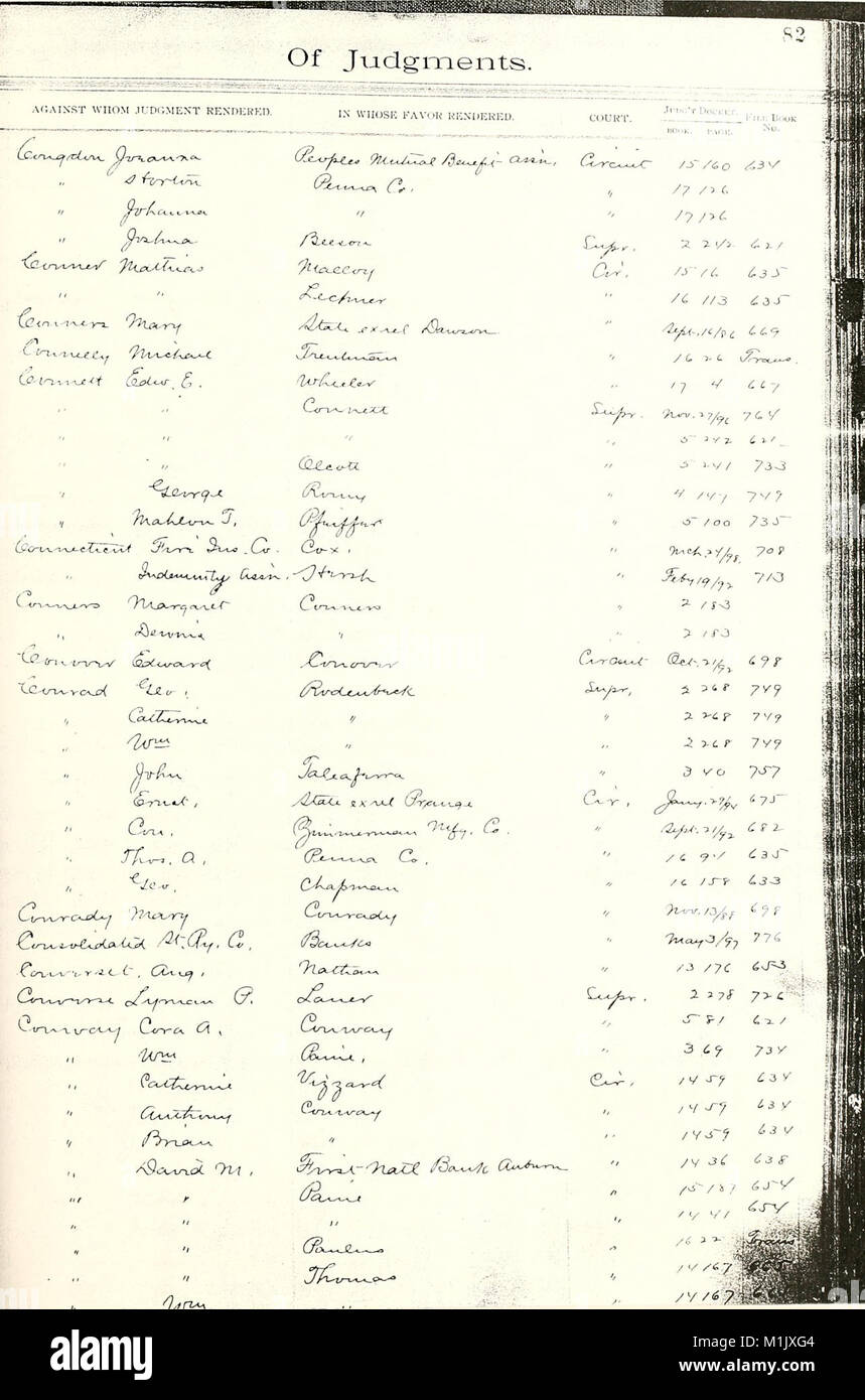 Allen county, Indiana, circuit court record general index