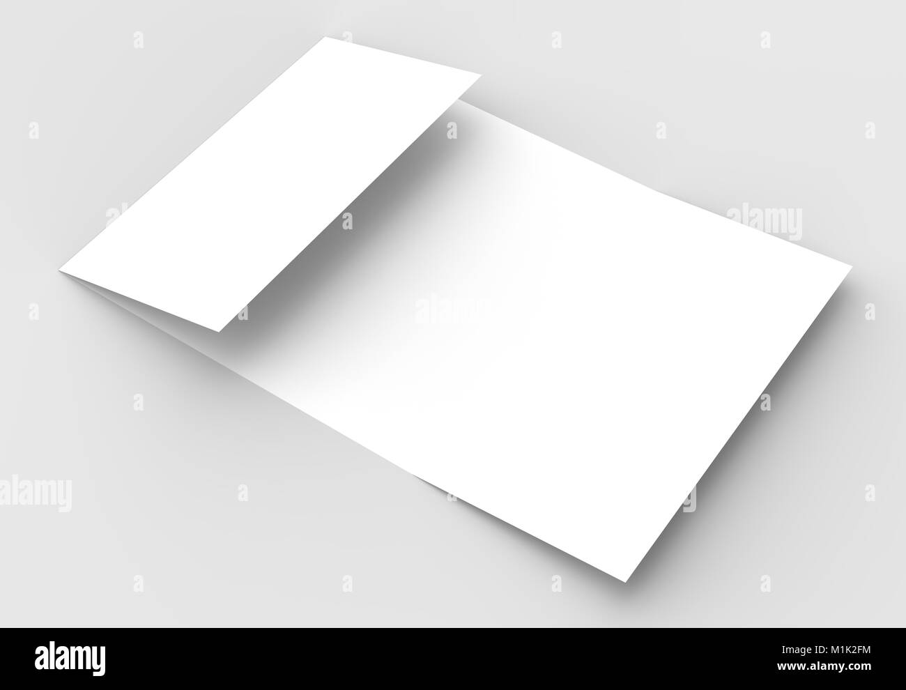 Square gate fold brochure mock up isolated on soft gray