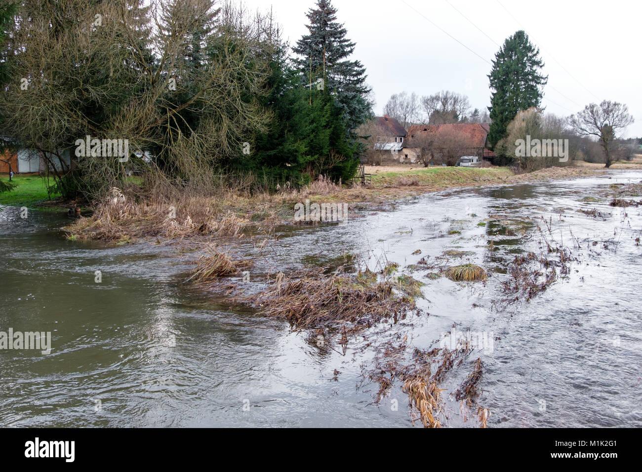 Hochwasser im Selketal - Stock Image