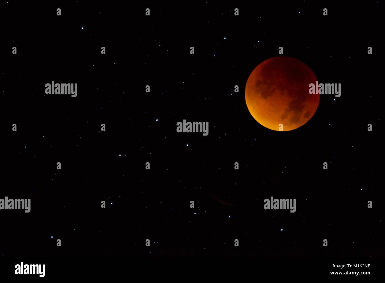 totale Mondfinsternis September 2015 Blutmond Supermond - Stock Image