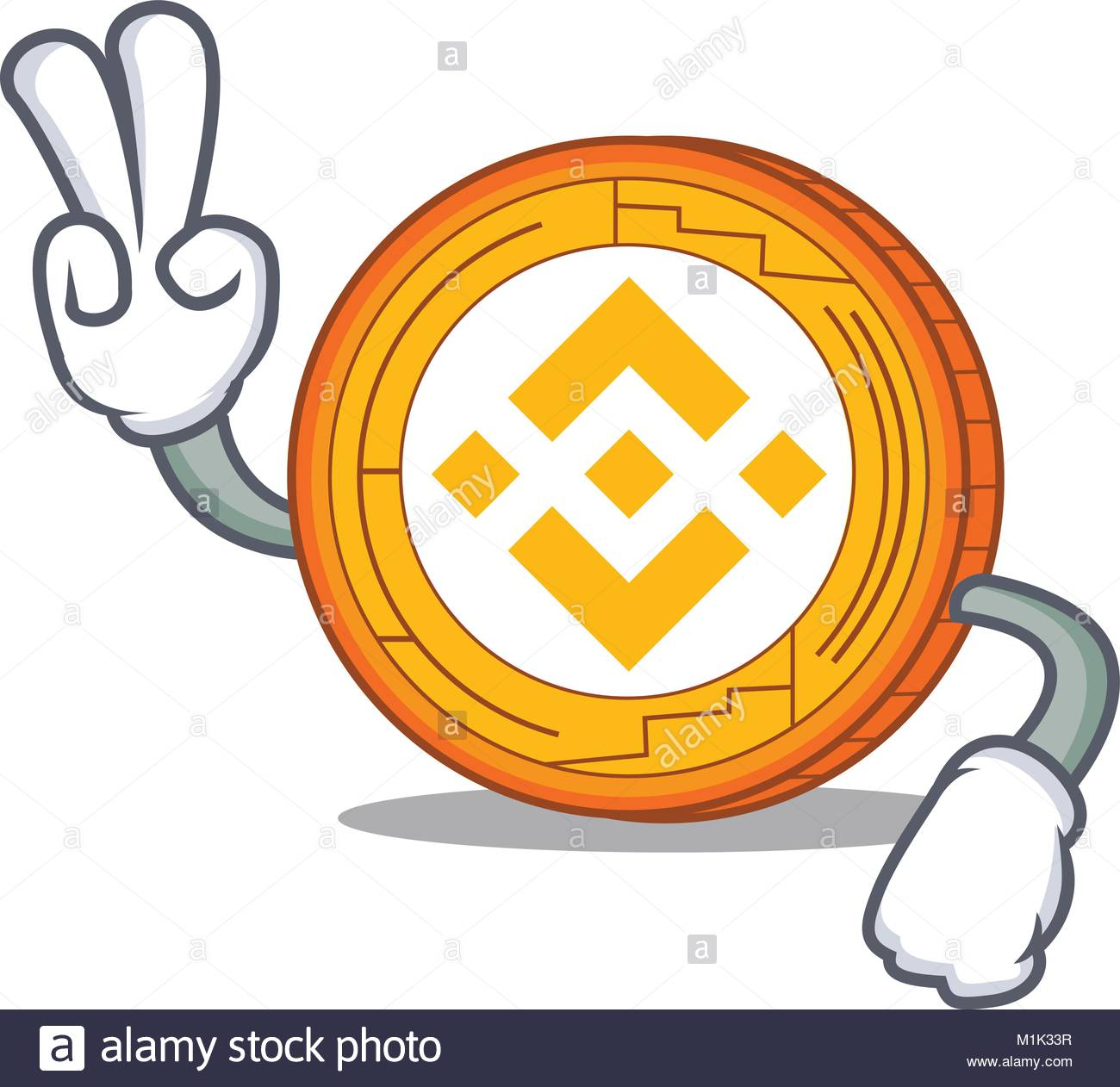 Two finger Binance coin character catoon Stock Vector Art
